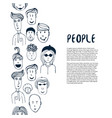 hand drawn sketch people collection design vector image vector image