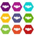handshake icon set color hexahedron vector image