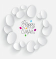 happy easter card poster color white eggs vector image vector image