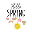 hello spring handwritting phrase with ropes and vector image vector image