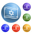israel flag icons set vector image