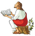jesus reading bible vector image vector image
