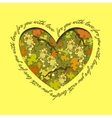 Love card Heart design Green grape and orange vector image vector image