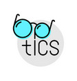 optics logo with glasses and text eyeglasses shop vector image
