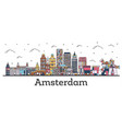 outline amsterdam netherlands city skyline with vector image