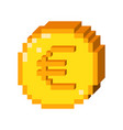 pixel 3d euro icon vector image vector image