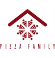 pizza family concept with abstract people and roof vector image vector image