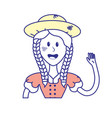 pretty woman with hat and blouse vector image vector image