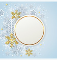 round banner with white and golden snowflakes vector image