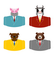 Set Animals businessmen Farm animals in costume vector image vector image