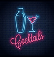 shaker neon logo cocktail party neon sign vector image