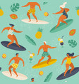 summer beach seamless pattern in surf vector image