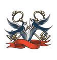 swallows with keys and ribbon tattoo vector image vector image