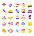 sweets icon chocolate candy biscuits ice cream vector image