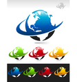 Swoosh Planet Earth Logo Icons vector image vector image