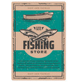 vintage poster of fishing boat and fish vector image vector image