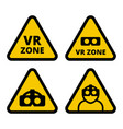 vr zone caution sign vector image
