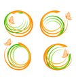 waves with butterfly logo vector image vector image
