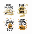 year stayed home lettering christmas poster vector image