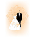 Wedding invitation with bride and groom dress vector image