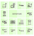 14 departure icons vector image vector image