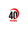 40th anniversary abstract logo forty happy vector image vector image
