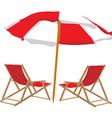 Beach chair and umbrella vector image vector image
