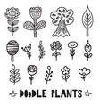 black and white doodle plants and flowers elements vector image