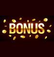 bonus gambling games casino banner with bonus vector image vector image