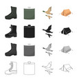 boots a hunting flask a flight of ducks a tent vector image vector image