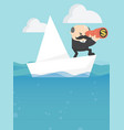 businessmen are floating on a paper boat on the vector image