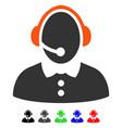 call center woman flat icon vector image vector image
