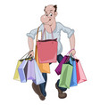 cartoon man walking with a lots of shop bags vector image vector image