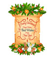 christmas and new year greeting card on scroll vector image vector image