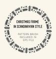 christmas frame and brush with corner tiles vector image