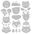 collection nature elements and animals heads in vector image
