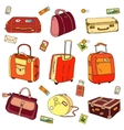 Collection of vintage travel suitcases with vector image vector image