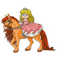 cute little princess riding on a horse isolated o vector image vector image
