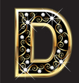 D gold letter with swirly ornaments vector | Price: 1 Credit (USD $1)