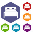 double bed icons set vector image