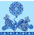 fantasy flower pattern blue vector image vector image