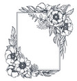 floral frame with bouquets of hand drawn vector image vector image