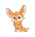funny fennec fox looking severely cute kawaii vector image vector image