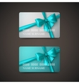 Gift Cards With Azure Bow And Ribbon vector image vector image