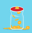 glass bank with falling gold coins - contribution vector image vector image