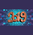glitter shine 2019 happy new year wooden vector image