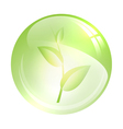 glossy ball with green sprout vector image