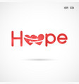 hope typographicalhope word iconbreast cancer vector image vector image