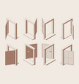 isometric outline open window with sill isolated vector image
