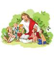 jesus reading bible to children vector image vector image